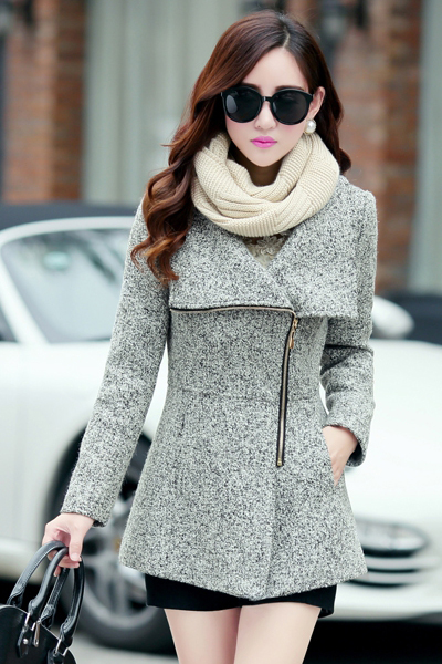 Cheap Fashion Turndown Collar Long Sleeves Zipper Design Light Grey Regular Wool Coat