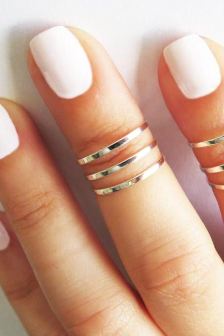 Silver Ring - Stacking rings, Knuckle Ring, Thin silver shiny bands, Set of 6 stack midi rings, Silver jewelry, Silver accessories