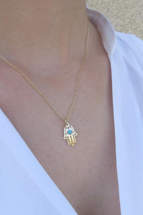 Gold hand necklace - Gold hamsa necklace, Delicate necklace, Gold hand with turquoise, Jewish jewelry, Hand pendant, Gold charm necklace