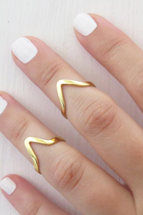 Simple gold stacking rings - Thin knuckle Ring, Chevron ring, Adjustable rings, Gold shiny ring, Set of 2 stack midi rings, Gold jewelry