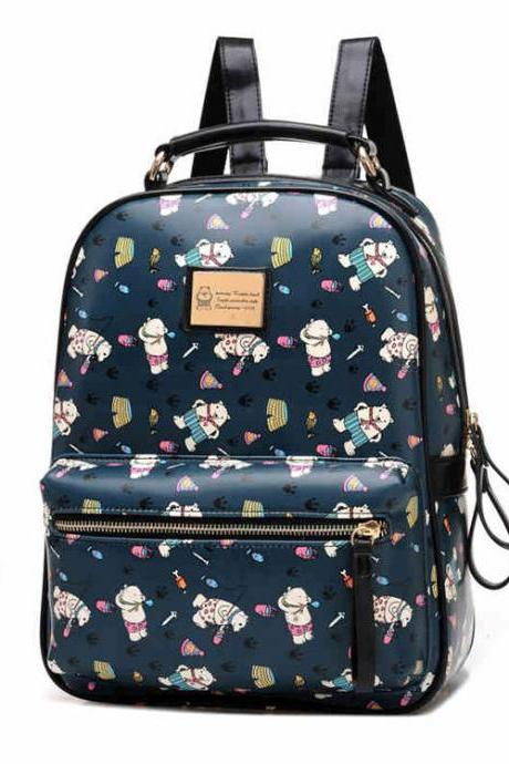 Lovely Bear Printed Cartoon Leather School Backpack