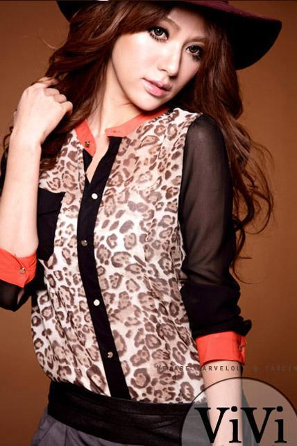Long Sleeve Leopard Chiffon Blouse