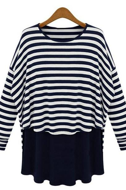 Relaxed Stripes Long Sleeves Tees/T-Shirts