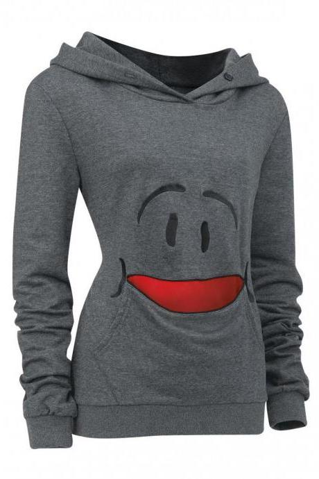 Girls Hoodie - Top Quality Vogue Cartoon Smiling Face Women Hoodies With Hat