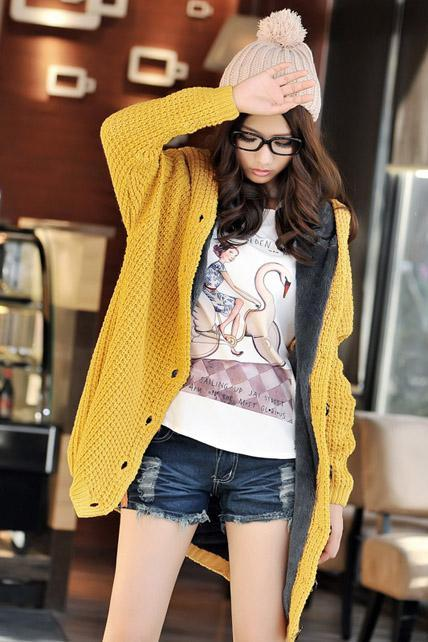 Long Sleeve Knitting Wool Sweater Coat - Yellow