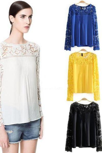 Ladies' Lace Sleeve Chiffon Blouse Shirt Hollow Out Knitted Shoulder Tops