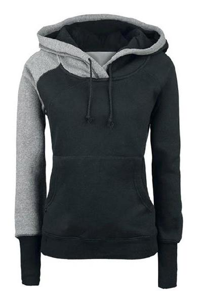 Girls Hoodie - Casual European Style Split Joint Cotton Slim Women Hoodies