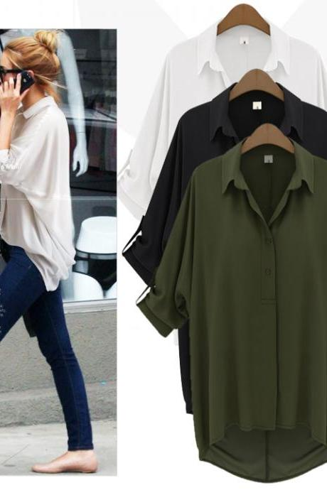 Women Chiffon Loose Long-Sleeved Blouse Tops Female Lapels Cardigan