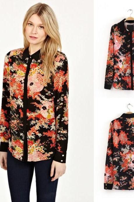 Women Long Sleeve Lapel Bump Color Printed Chiffon Shirt Blouse