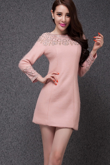 Qiu dong outfit new high-end heavy manual show thin commuter nail bead cloth long-sleeved dress
