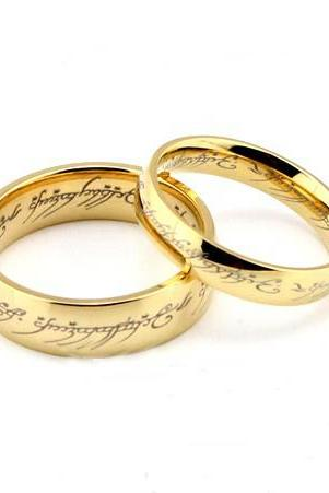 2pcs Golden Lord of the rings stainless steel rings, Wedding Couple Rings, his and hers wedding ring sets, promise rings, matching rings