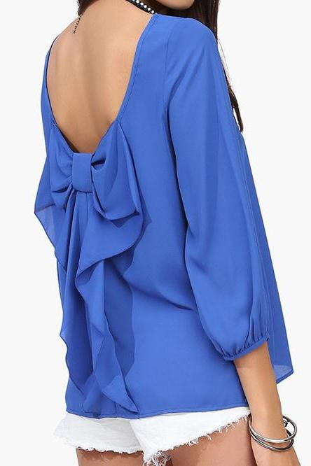 Casual Chiffon Blouses Top With Bow On Back In Blue