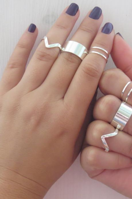Stacking silver rings - Silver ring, Set of 8 silver rings, Knuckle Ring, Cuff ring, Chevron ring, Silver jewelry, Unique gifts, Accessories