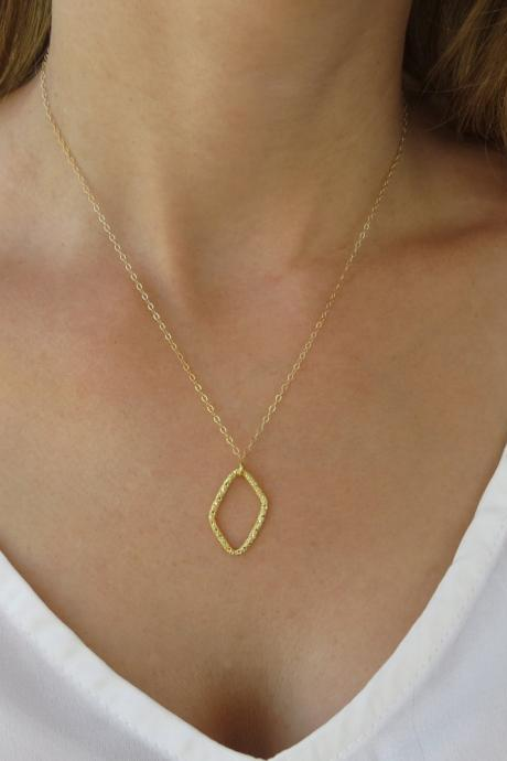 Gold necklace, Square necklace, Oval necklace, Geometric necklace, Bridesmaid necklace, Charm necklace, Jewelry gift, Dainty jewelry