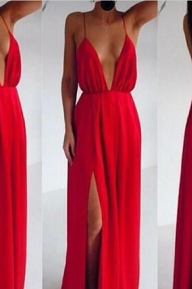Sexy Red Chiffon Backless Strips Dress Red Backless Dresses