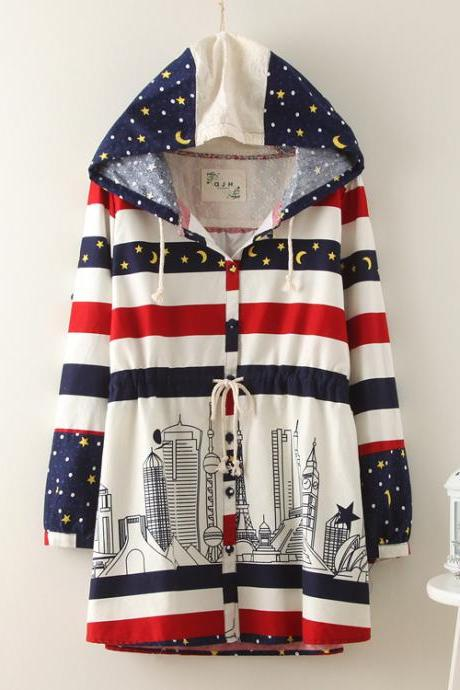 Hooded Striped Star Jacket CX109I