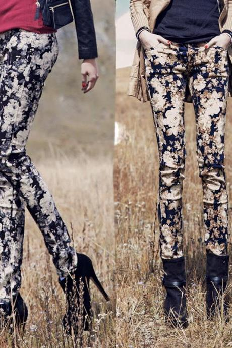 Printing Pencil Pants Women's Trousers Jeans Leggings Tights PL001
