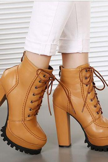 Chunky Heel Lace Up Boots In Brown