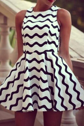 Black Chevron Print Dress
