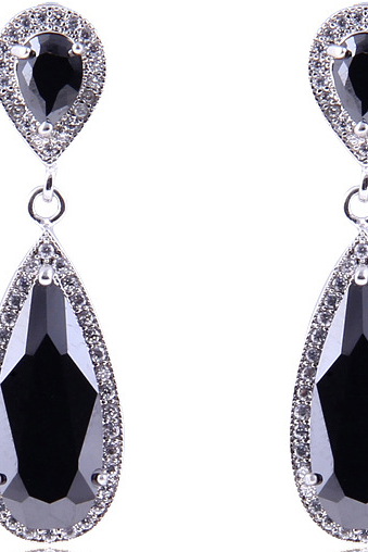 Zircon crystal earrings female long sections of earrings