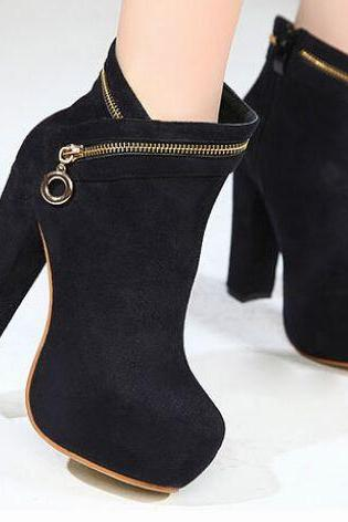 Gorgeous Pure Black Zipper Design High Heel Boots