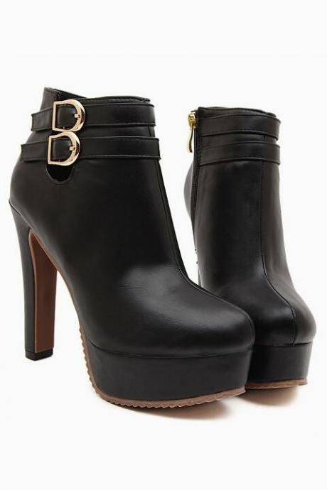 Black High Heel Fashion Ankle Boots