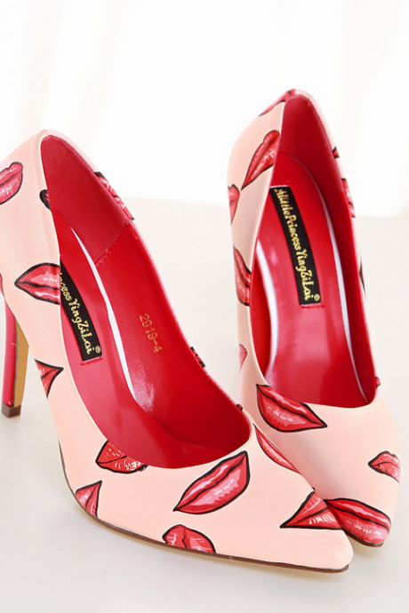 Pointed Toe Kiss Lips Print Stiletto Pumps, High Heels