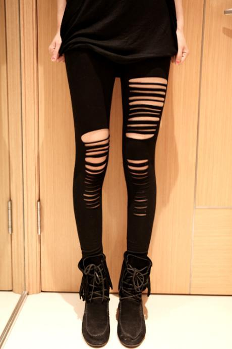 Cool Black Punk Stripes Style Leggings, Cool Leggings, Tights, Tight
