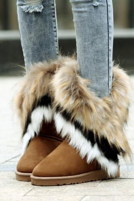 Cheap Winter Fashion Round Toe Feathers Decorated Slip On Flat Low Heel Brown Suede Ankle Snow Boots
