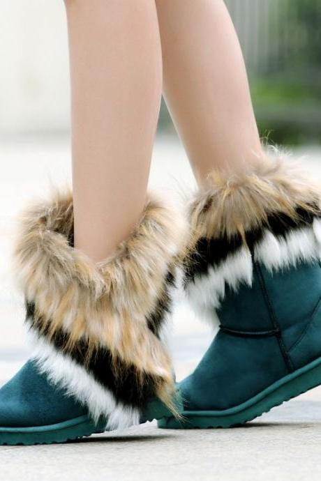 Cheap Winter Fashion Round Toe Feathers Decorated Slip On Flat Low Heel Green Suede Ankle Snow Boots