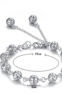 925 silver ornament female bracelet Hollow out and exquisite ball bracelet