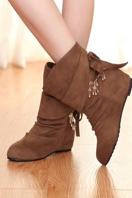 Cheap Winter Fashion Round Toe Slip On Chains Decorated Wedge Mid Heel Yellow Suede Ankle Martens Boots