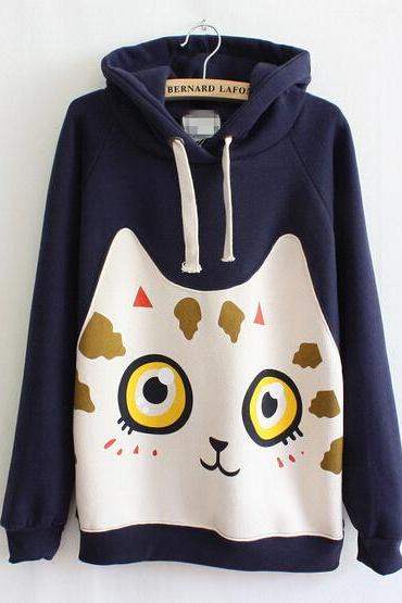 Cute Kittens Long-Sleeved Hooded Sweater