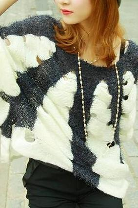 Fashion Bat Sleeve Loose Knit Sweater
