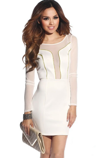 Cheap Sexy O Neck Long Sleeves Hollow-out Mesh Patchwork Zipper Decorated Polyester Sheath Mini Dress