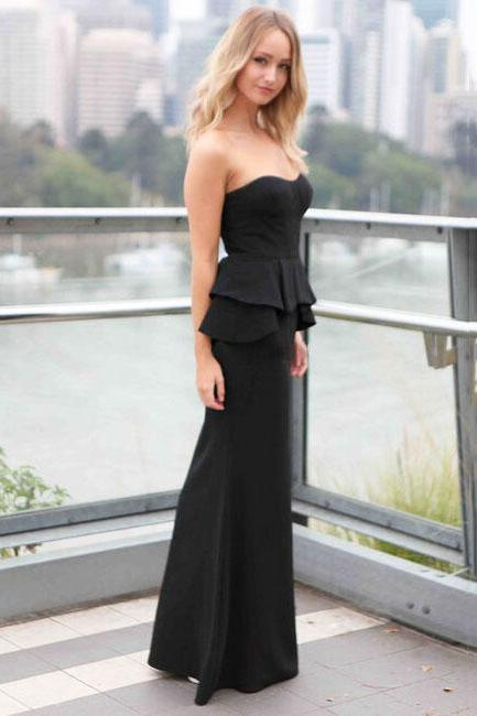 Cheap Sexy Strapless Off The Shoulder Sleeveless Black Polyester Peplum Maxi Dress