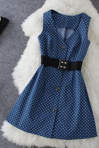 Fashion Polka Dot Denim Dress