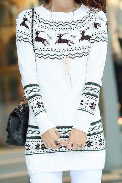 Long-Sleeved Round Neck Knit Sweater