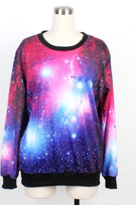 Galaxy Sweater Jumper Cosmic Light Sweatshirt T-Shirt Long Sleeve Black Women Shirt Tshirt Unisexs--1011
