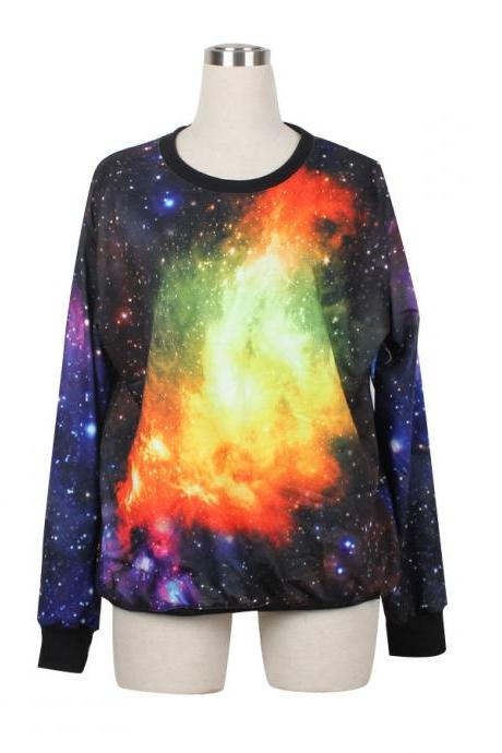 Galaxy Sweater Jumper Orange & Yellowe Cosmic Light Sweatshirt T-Shirt Long Sleeve Black Women Shirt Tshirt Unisex --1015