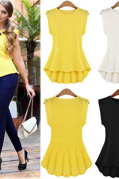 Women's Vintage Lace Peplum Frill Bodycon Tank Shirt Tops Blouse T-shirt