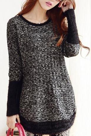 Loose long-sleeved knit sweater #101005AD