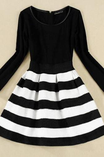 Slim striped long-sleeved dress AD101012HJ