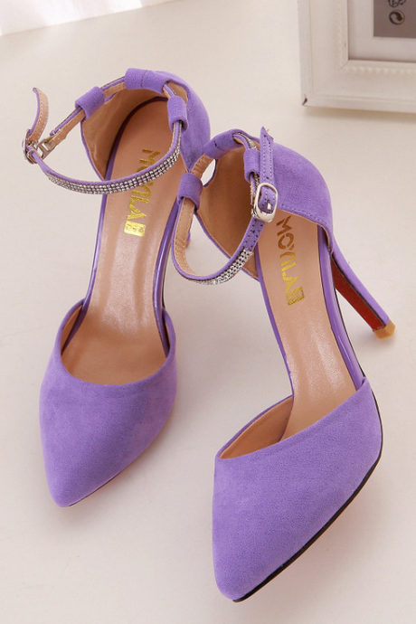 Candy-colored Suede High Heel Pumps with Diamond Embellished Ankle Straps