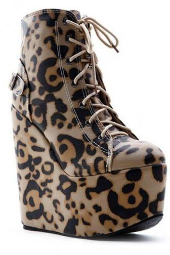 Korean fashion wild leopard print lace-up boots for ladies