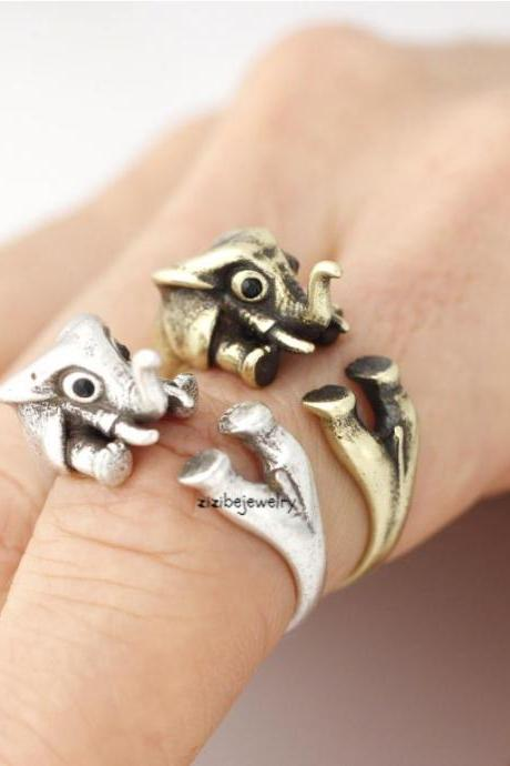 Cute Elphant Adjustable Wrap Ring