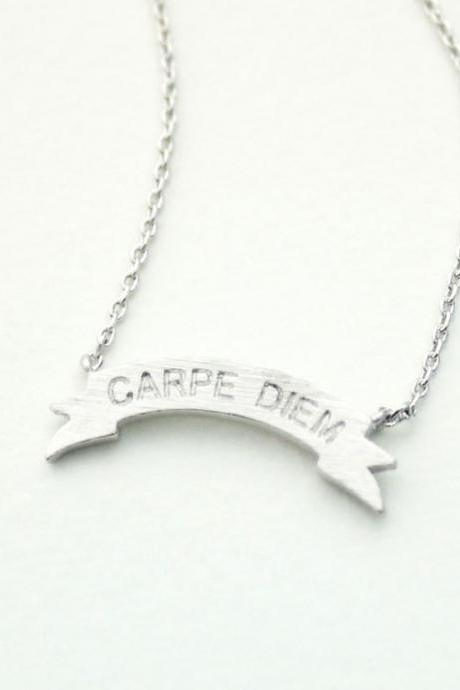 Carpe Diem Tag Pendant Necklace In Silver