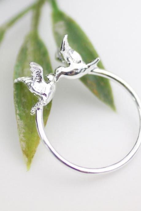 Tiny Twin Bird Sparrow Adjustable Ring In Silver