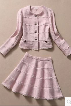 Pink collar cloth coat + skirt outfit