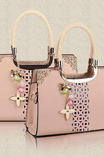 Fashion Cute Candy Color Floral Cutout Handbag - Apricot